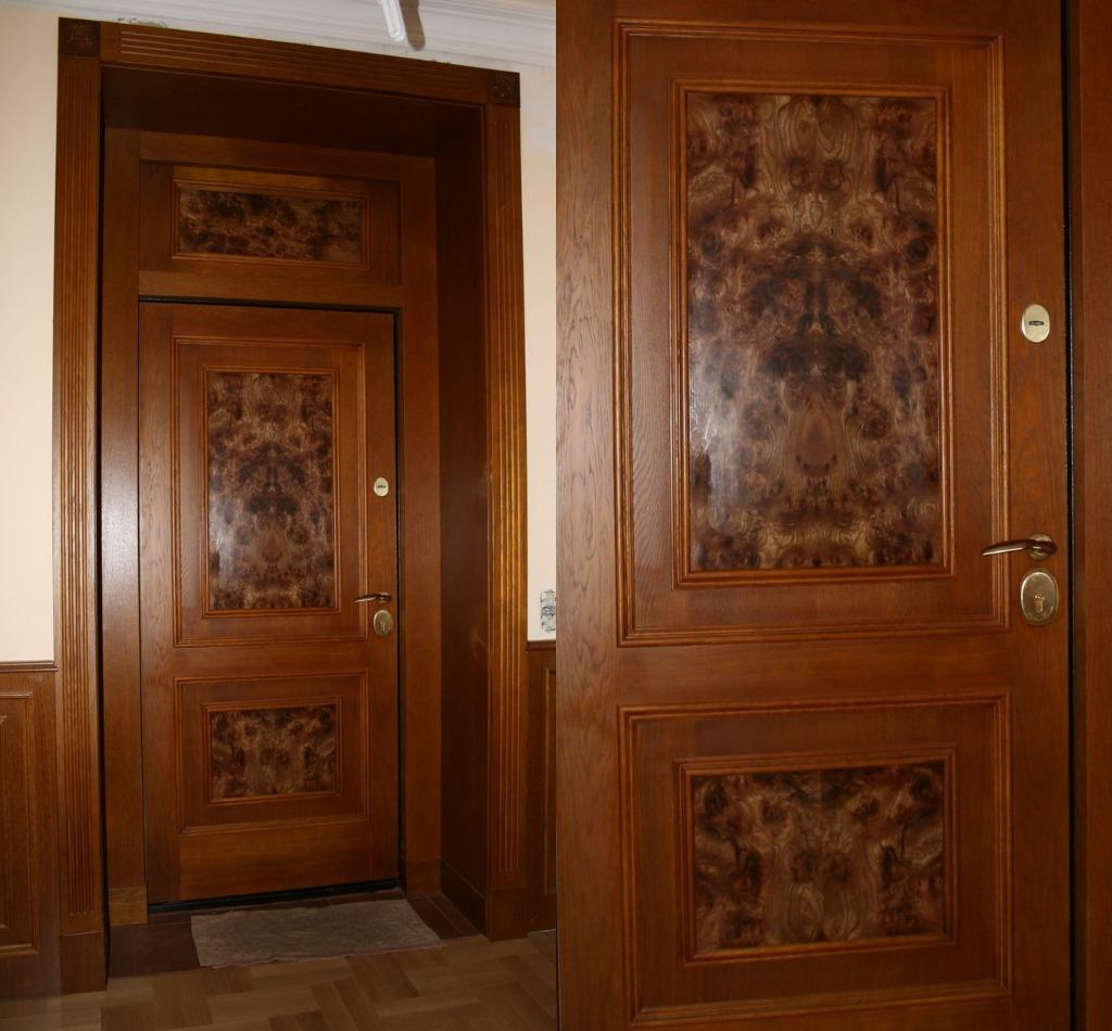 двери входные из шпона дерева